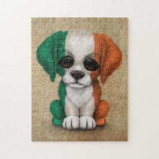 Cute Patriotic Irish Flag Puppy Dog, Rough Puzzle