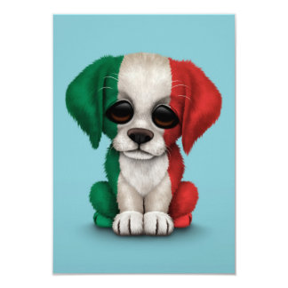 Cute Patriotic Italian Flag Puppy Dog, Blue Card