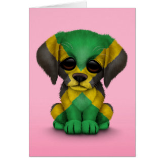 Cute Patriotic Jamaican Flag Puppy Dog, Pink Card