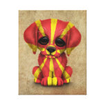 Cute Patriotic Macedonian Flag Puppy Dog, Rough Canvas Print