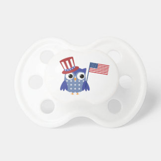 Cute Patriotic Owl Fourth of July Baby Pacifier