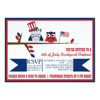 Cute Patriotic Owls Fourth of July Invitation