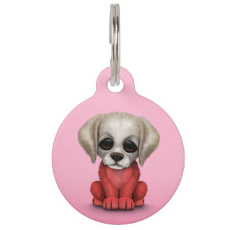 Cute Patriotic Polish Flag Puppy Dog, Pink Pet ID Tag