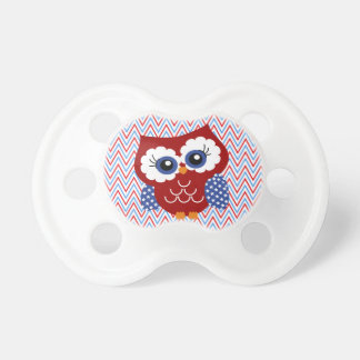 Cute Patriotic Red White and Blue Owl Baby Pacifiers