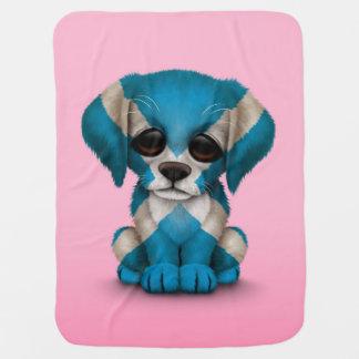 Cute Patriotic Scottish Flag Puppy Dog, Pink Baby Blanket