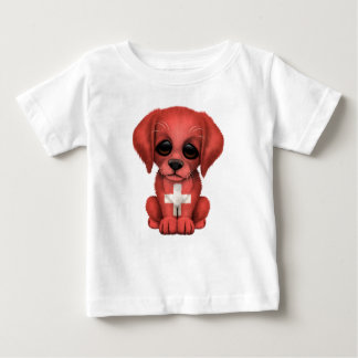 Cute Patriotic Swiss Flag Puppy Dog Baby T-Shirt