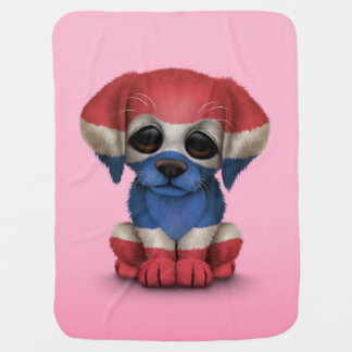 Cute Patriotic Thai Flag Puppy Dog, Pink Baby Blanket
