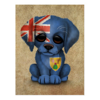 Cute Patriotic Turks and Caicos Puppy Dog Rough Post Card
