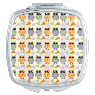 Cute Pattern Owls Compact Mirrors