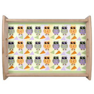 Cute Pattern Owls Serving Tray