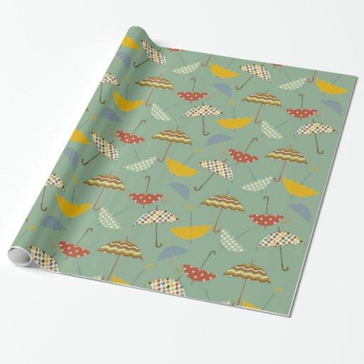 Cute Pattern Umbrellas Spring Rain Design Wrapping Paper