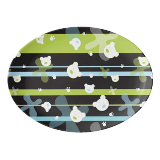 Cute pattern with little bears porcelain serving platter