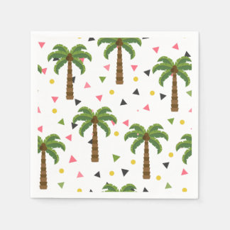 Cute pattern with palm trees and geometric shapes paper napkin