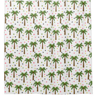 Cute pattern with palm trees and geometric shapes shower curtain