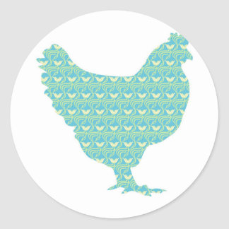 Cute patterned chicken round sticker