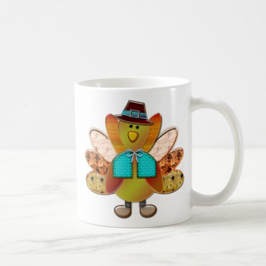 Cute Patterned Designer Pilgrim Turkey Coffee Mug