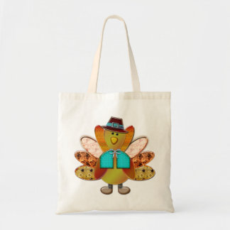 Cute Patterned Designer Pilgrim Turkey Tote Bag