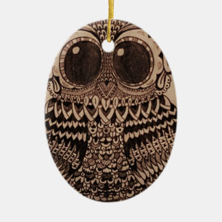 Cute Patterned Owl Design Christmas Ornament