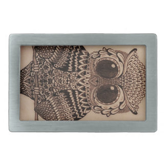 Cute Patterned Owl Design Rectangular Belt Buckle