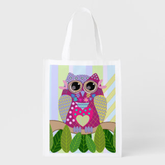 Cute Patterned Owl Reusable Bag