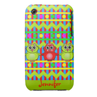 Cute Patterns iPhone 3 case with Owls & Name