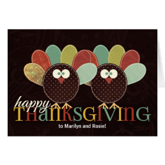 Cute Patwork Pair of Thanksgiving Turkeys Card