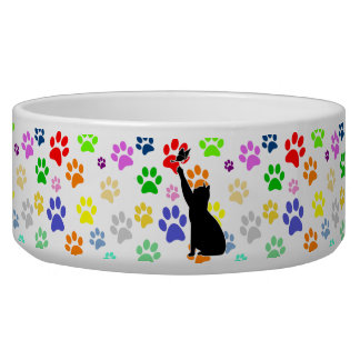 Cute Paw Pattern and Cat Chasing a butterfly Pet Water Bowl