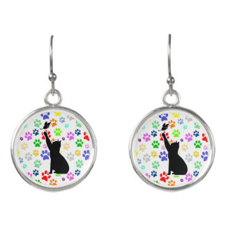 Cute Paw Pattern Cat Chasing a butterfly Earrings