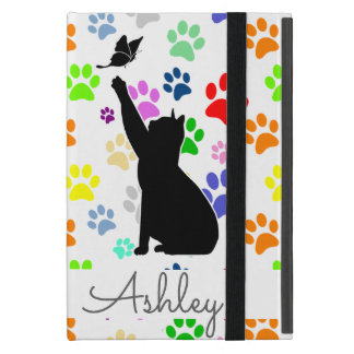 Cute Paw Pattern Cat Chasing a butterfly Monogram Case For iPad Mini