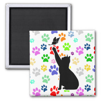 Cute Paw Pattern Cat Chasing a butterfly Square Magnet