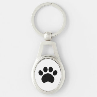 Cute Paw Print Metal Keychain Silver-Colored Oval Key Ring