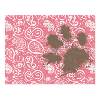 Cute Pawprint on Blush Pink Paisley Post Cards