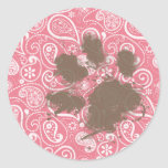 Cute Pawprint on Blush Pink Paisley Round Stickers