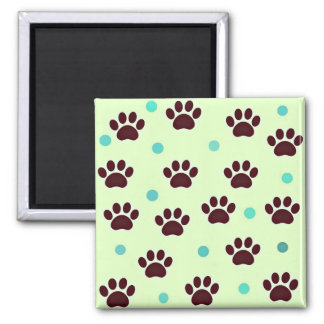 Cute Paws and Dots Square Magnet