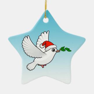 Cute Peace Dove with Santa Hat Christmas Ornament
