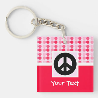 Cute Peace Sign Double-Sided Square Acrylic Keychain