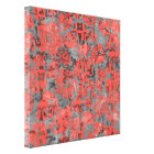 Cute Peach and Grey Splotch Abstract Colourful Canvas Print