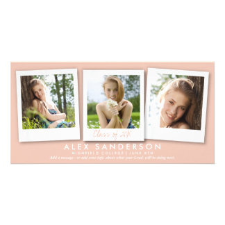 Cute Peach/Apricot Instant Style Photo Graduation Customised Photo Card