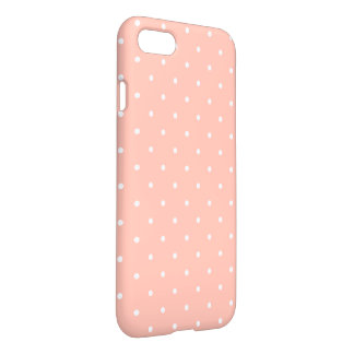 Cute Peach White Small Polka Dots Pattern Girly iPhone 7 Case
