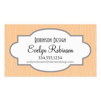 Cute Peach Wood Grain look Business Card Templates