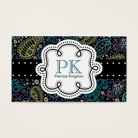 Cute Peacock Colours Paisley Calling Card