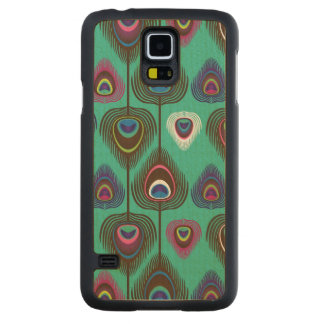 cute peacock feather pattern carved maple galaxy s5 case