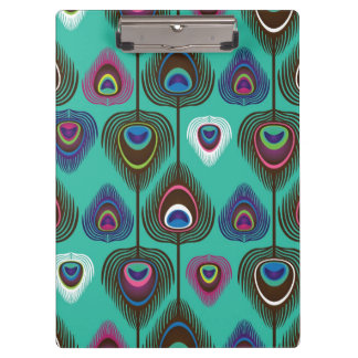 cute peacock feather pattern clipboard