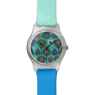 cute peacock feather pattern watch