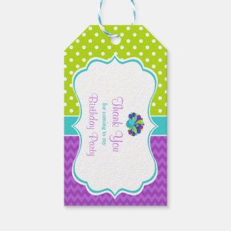 Cute Peacock Green and Purple Gift Tag