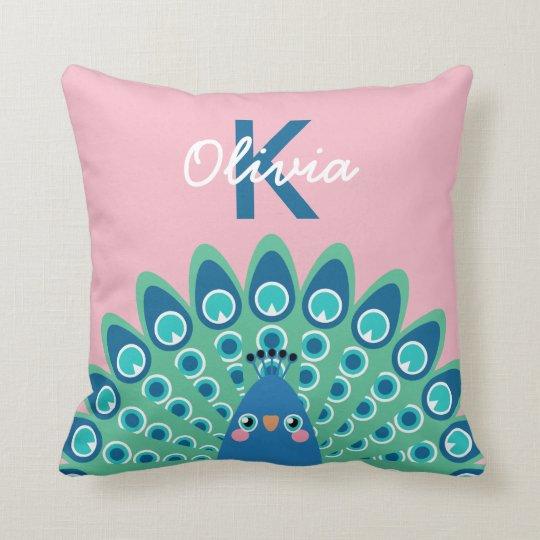 Cute Peacock   Pink Monogrammed Cushion