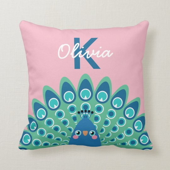 Cute Peacock | Pink Monogrammed Throw Pillow