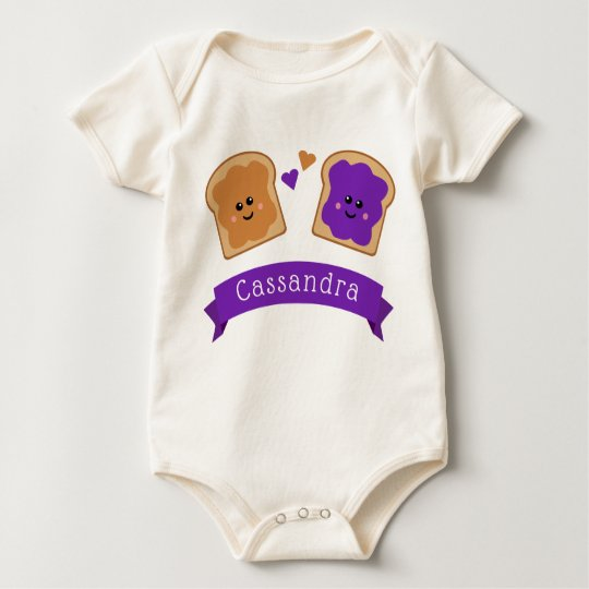 Cute Peanut Butter and Jelly Baby Bodysuit