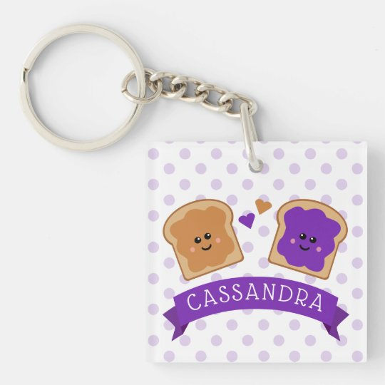 Cute Peanut Butter and Jelly Key Ring