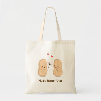Cute Peanuts Nuts About You Pun Love Humor Tote Bag